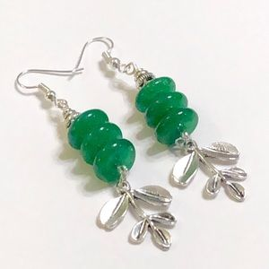 Emerald Green Jade Silver Fern Necklace & Earrings